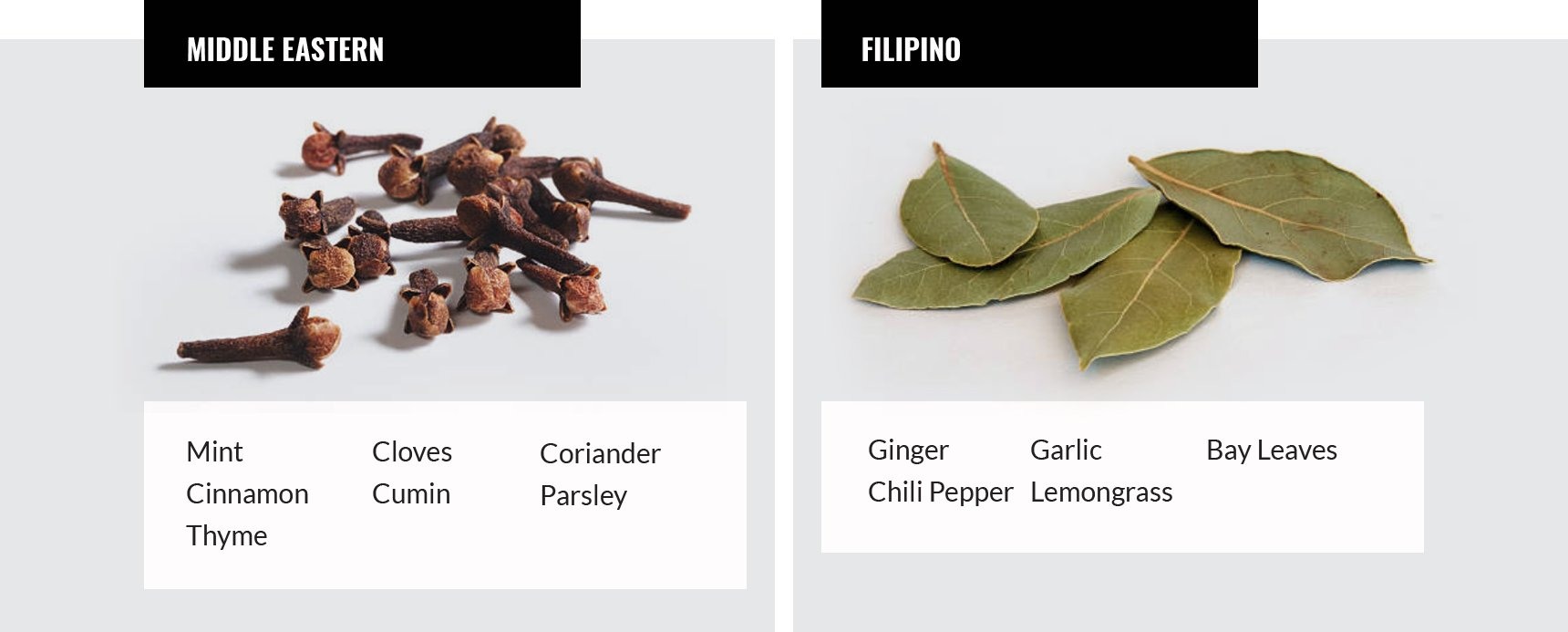 Middle Eastern and Filipino spices