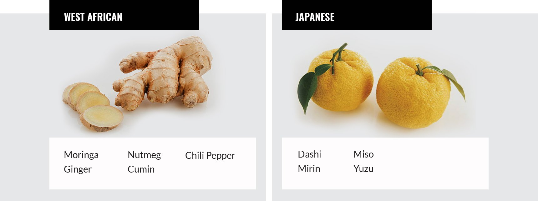West African and Japanese spices