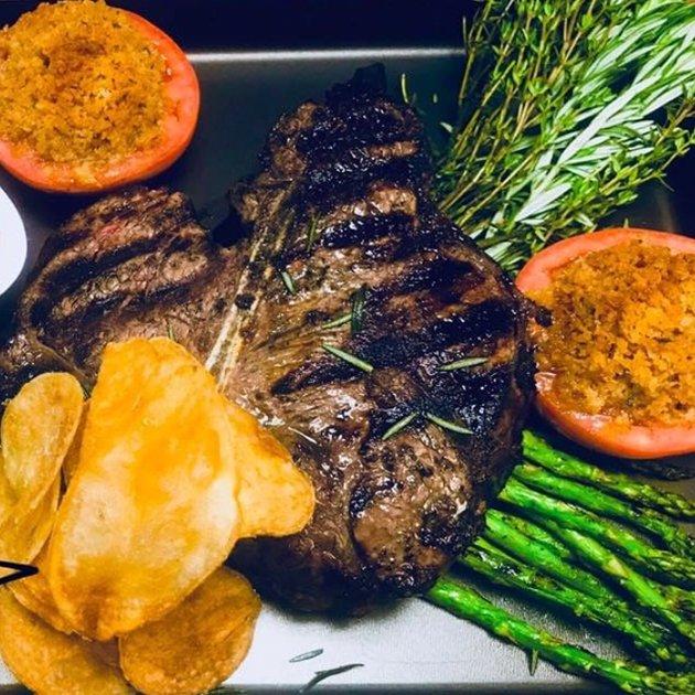 Porterhouse steak with assorted veggies