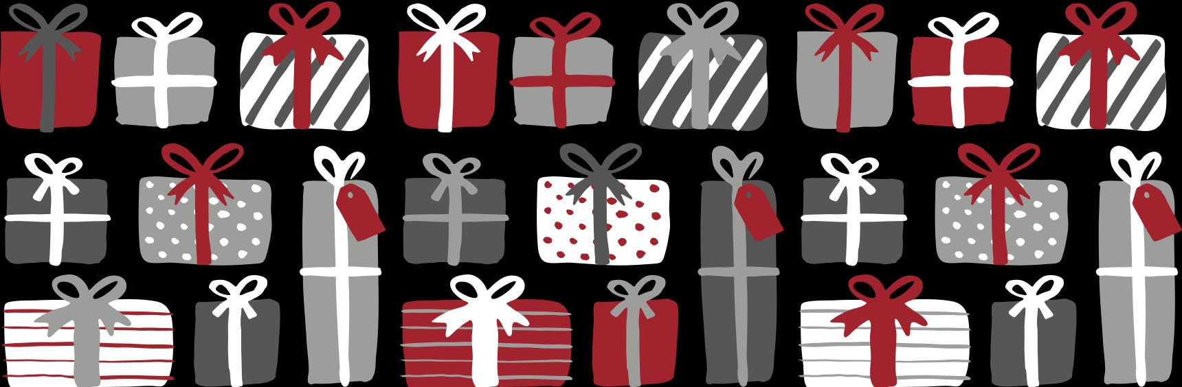 Red, silver, and white gifts graphic